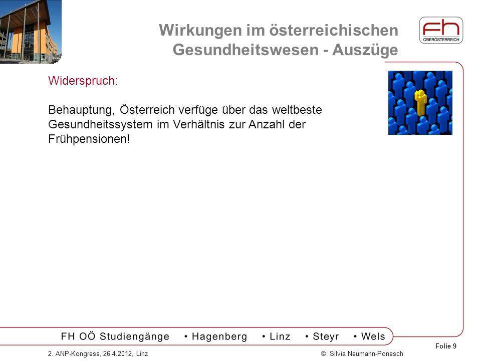 Folie 9 © Silvia Neumann-Ponesch2. ANP-Kongress, 26.4.2012, Linz Widerspruch: Behauptung, Österreich verfüge über das weltbeste Gesundheitssystem im V