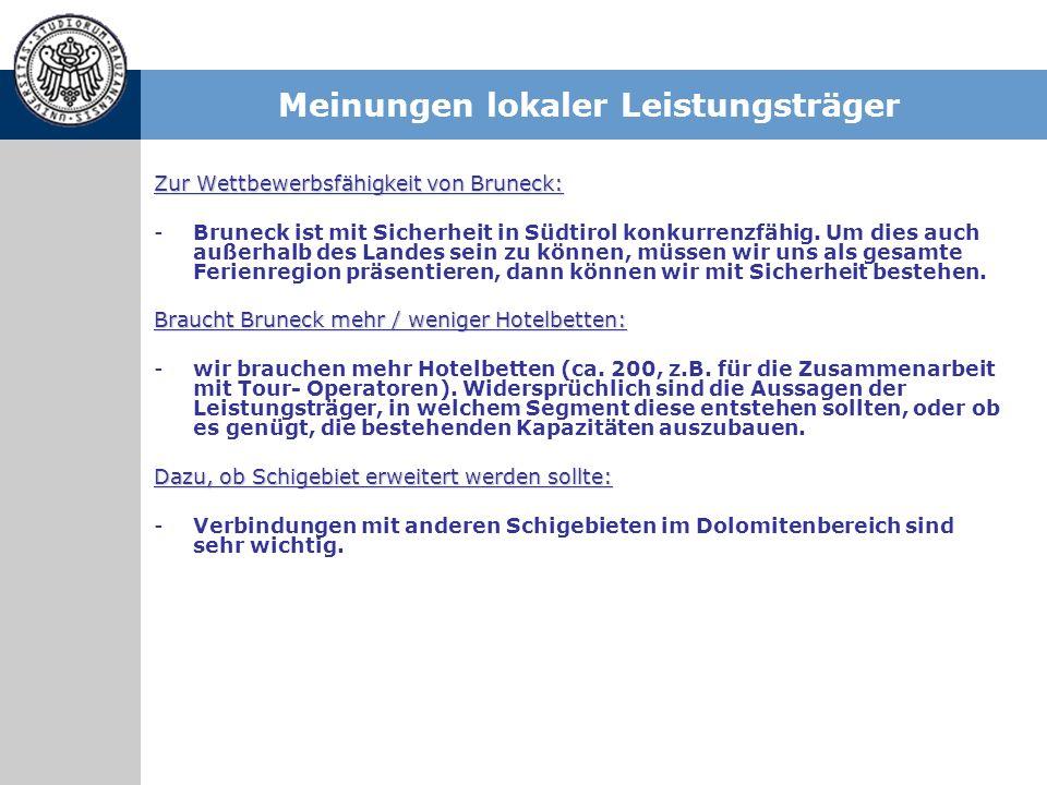 Zur Wettbewerbsfähigkeit von Bruneck: -Bruneck ist mit Sicherheit in Südtirol konkurrenzfähig. Um dies auch außerhalb des Landes sein zu können, müsse