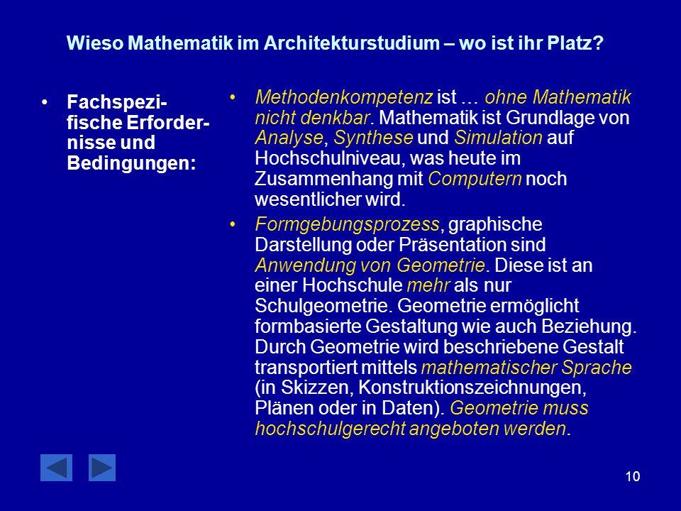 10 Wieso Mathematik im Architekturstudium – wo ist ihr Platz? Fachspezi- fische Erforder- nisse und Bedingungen: Methodenkompetenz ist … ohne Mathemat