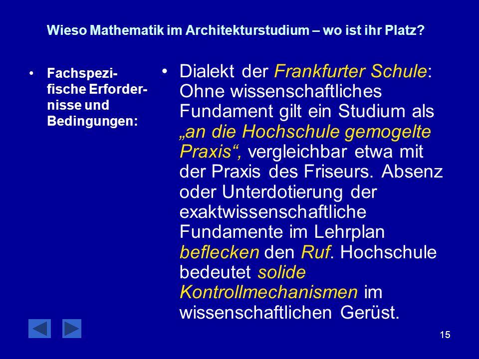 15 Wieso Mathematik im Architekturstudium – wo ist ihr Platz? Fachspezi- fische Erforder- nisse und Bedingungen: Dialekt der Frankfurter Schule: Ohne