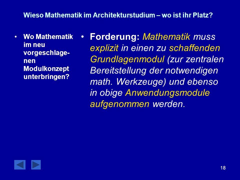 18 Wieso Mathematik im Architekturstudium – wo ist ihr Platz? Wo Mathematik im neu vorgeschlage- nen Modulkonzept unterbringen? Forderung: Mathematik