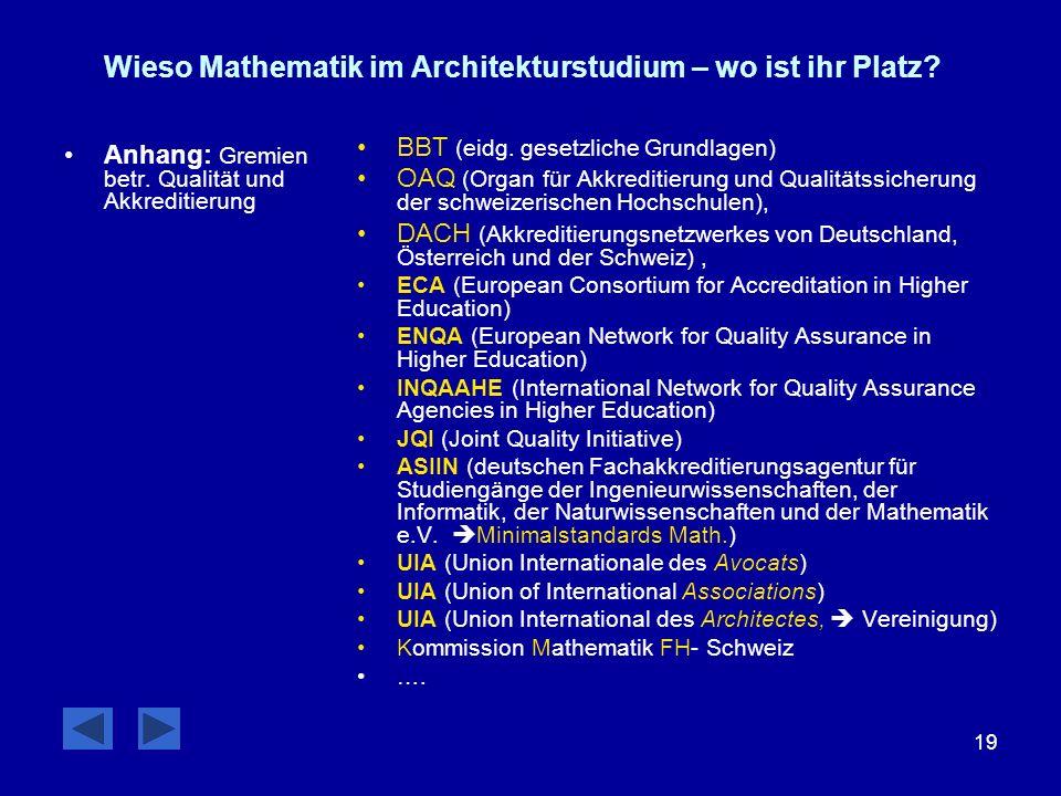 19 Wieso Mathematik im Architekturstudium – wo ist ihr Platz? Anhang: Gremien betr. Qualität und Akkreditierung BBT (eidg. gesetzliche Grundlagen) OAQ
