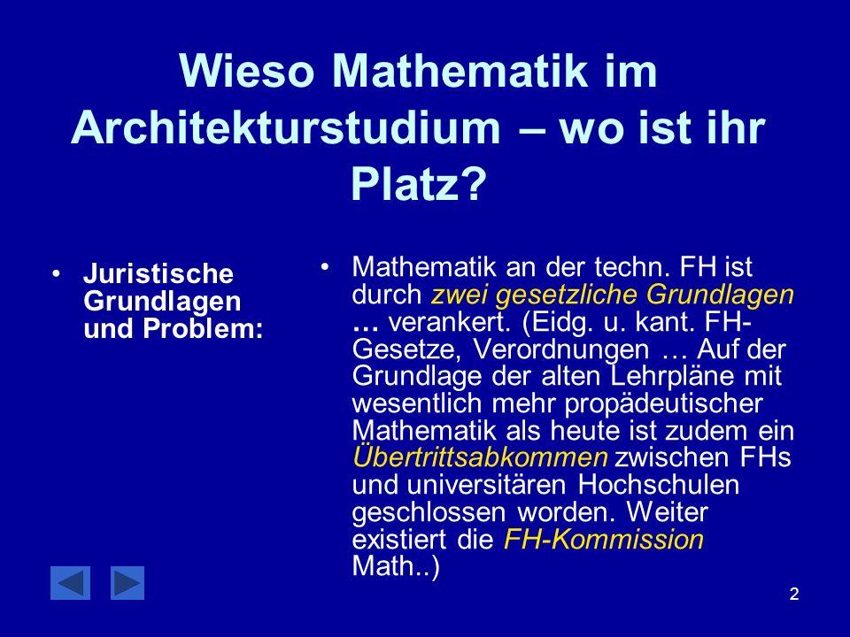 2 Wieso Mathematik im Architekturstudium – wo ist ihr Platz? Juristische Grundlagen und Problem: Mathematik an der techn. FH ist durch zwei gesetzlich