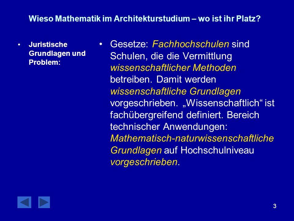 3 Wieso Mathematik im Architekturstudium – wo ist ihr Platz? Juristische Grundlagen und Problem: Gesetze: Fachhochschulen sind Schulen, die die Vermit