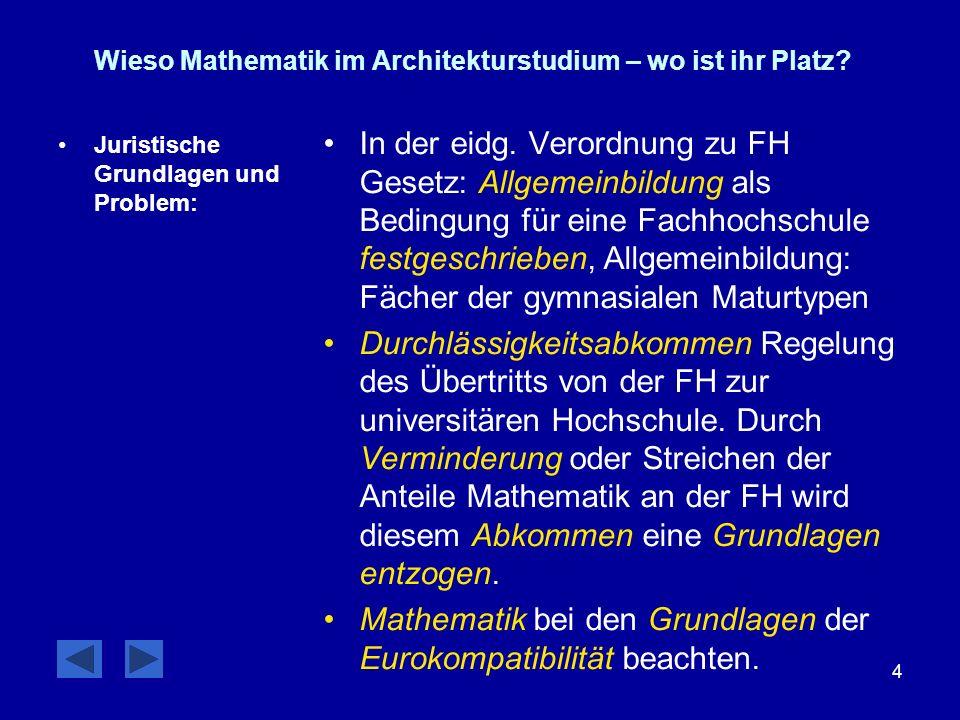4 Wieso Mathematik im Architekturstudium – wo ist ihr Platz? Juristische Grundlagen und Problem: In der eidg. Verordnung zu FH Gesetz: Allgemeinbildun