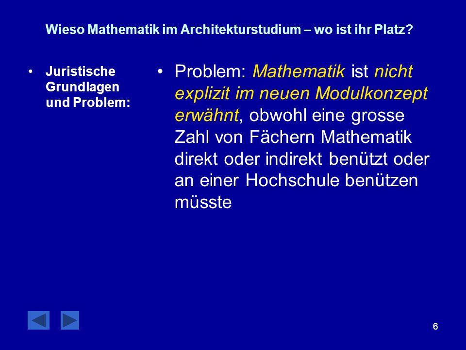 6 Wieso Mathematik im Architekturstudium – wo ist ihr Platz? Juristische Grundlagen und Problem: Problem: Mathematik ist nicht explizit im neuen Modul