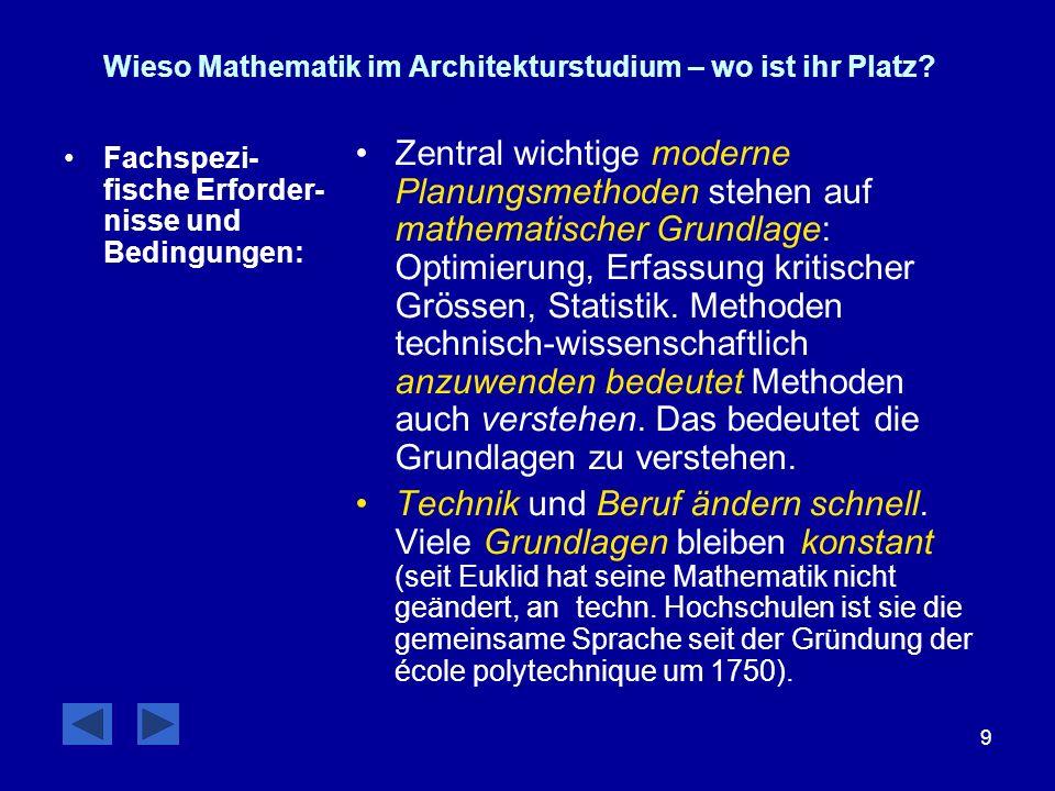 9 Wieso Mathematik im Architekturstudium – wo ist ihr Platz? Fachspezi- fische Erforder- nisse und Bedingungen: Zentral wichtige moderne Planungsmetho