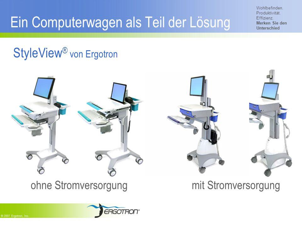 Wohlbefinden. Produktivität. Effizienz. Merken Sie den Unterschied © 2007 Ergotron, Inc. Ein Computerwagen als Teil der Lösung StyleView ® von Ergotro