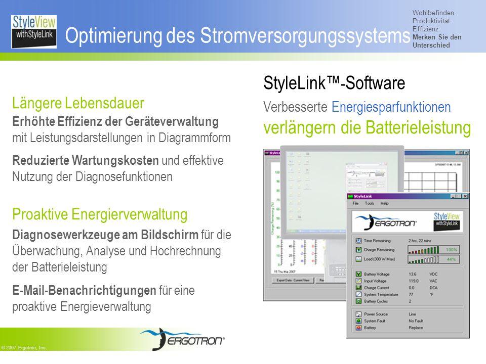 Wohlbefinden. Produktivität. Effizienz. Merken Sie den Unterschied © 2007 Ergotron, Inc. Optimierung des Stromversorgungssystems Längere Lebensdauer E