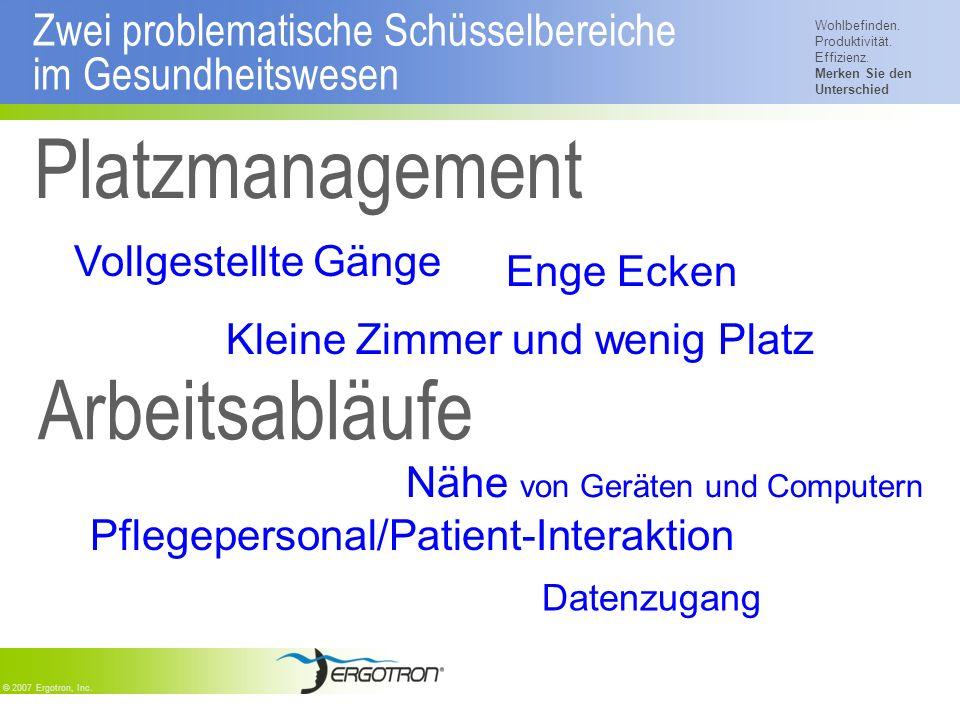 Wohlbefinden. Produktivität. Effizienz. Merken Sie den Unterschied © 2007 Ergotron, Inc. Zwei problematische Schüsselbereiche im Gesundheitswesen Plat