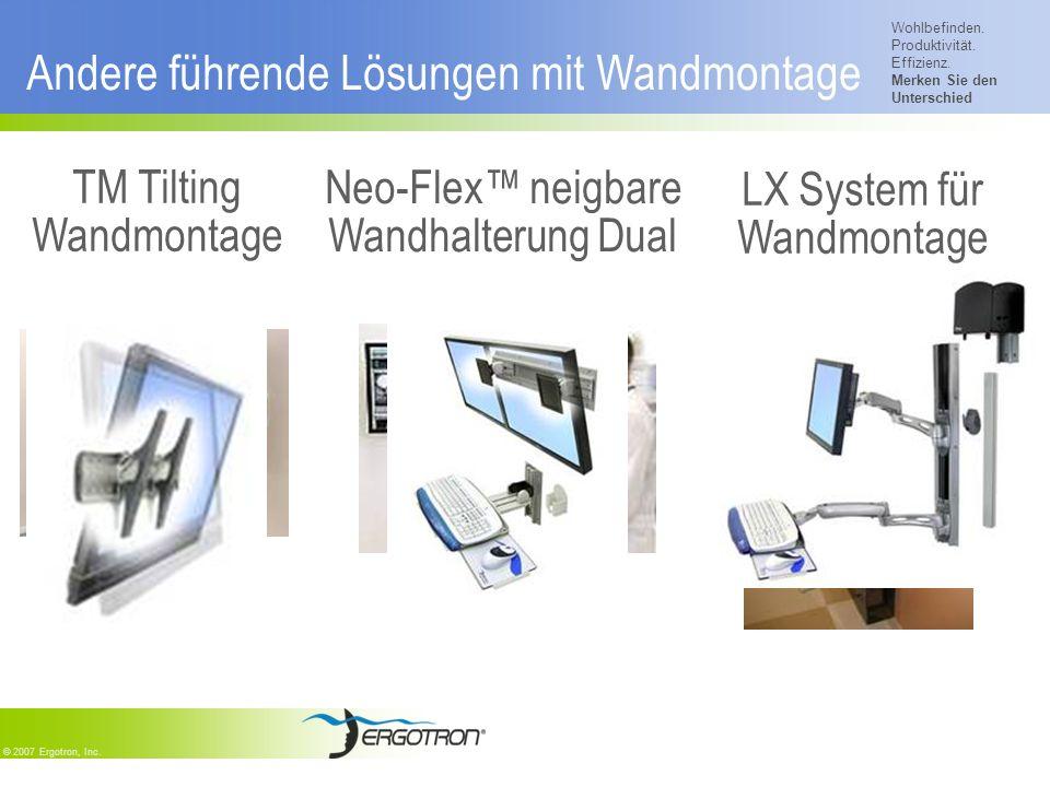 Wohlbefinden. Produktivität. Effizienz. Merken Sie den Unterschied © 2007 Ergotron, Inc. Neo-Flex neigbare Wandhalterung Dual LX System für Wandmontag