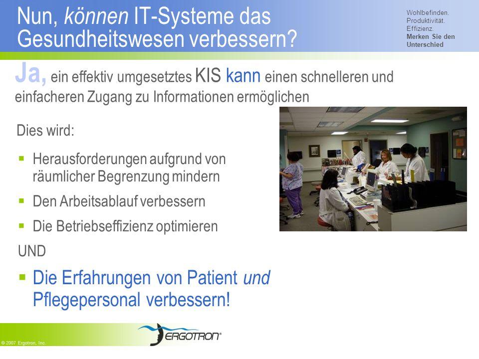 Wohlbefinden. Produktivität. Effizienz. Merken Sie den Unterschied © 2007 Ergotron, Inc. Dies wird: Herausforderungen aufgrund von räumlicher Begrenzu