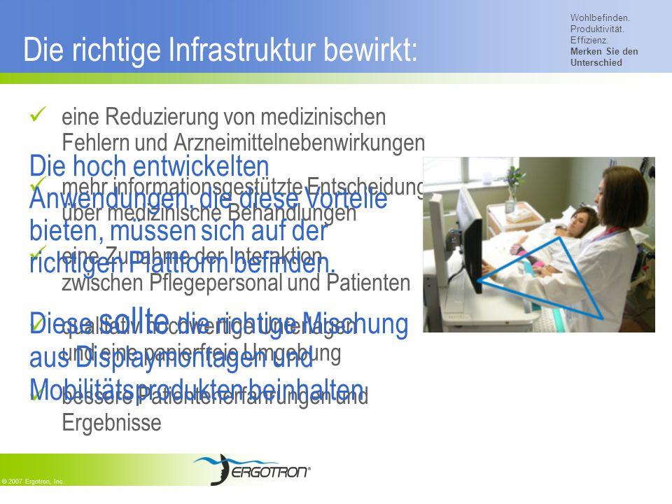 Wohlbefinden. Produktivität. Effizienz. Merken Sie den Unterschied © 2007 Ergotron, Inc. Die richtige Infrastruktur bewirkt: eine Reduzierung von medi
