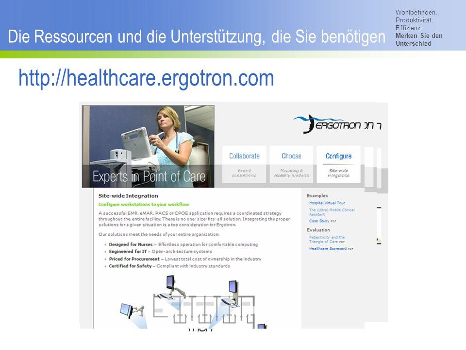 Wohlbefinden. Produktivität. Effizienz. Merken Sie den Unterschied © 2007 Ergotron, Inc. Die Ressourcen und die Unterstützung, die Sie benötigen http:
