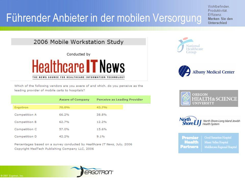 Wohlbefinden. Produktivität. Effizienz. Merken Sie den Unterschied © 2007 Ergotron, Inc. Führender Anbieter in der mobilen Versorgung