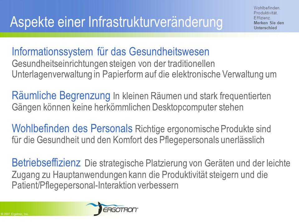 Wohlbefinden. Produktivität. Effizienz. Merken Sie den Unterschied © 2007 Ergotron, Inc. Aspekte einer Infrastrukturveränderung Informationssystem für