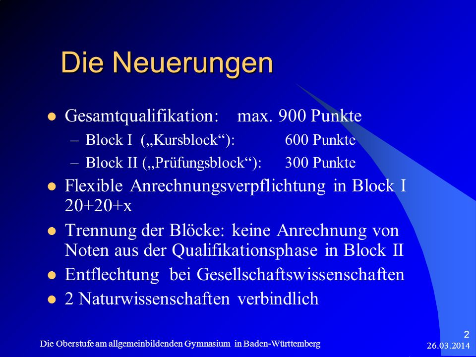 26.03.2014 Die Oberstufe am allgemeinbildenden Gymnasium in Baden-Württemberg 43 Zeitpunkt der Entscheidungen Ende Kl.