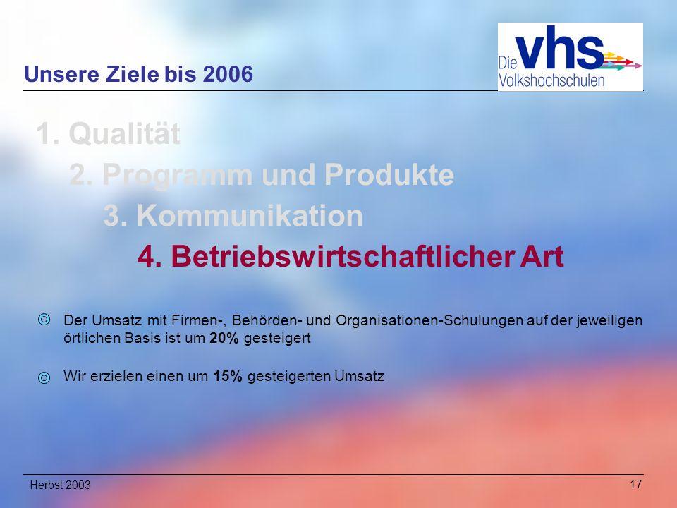 Herbst 200317 Unsere Ziele bis 2006 1.Qualität 2.