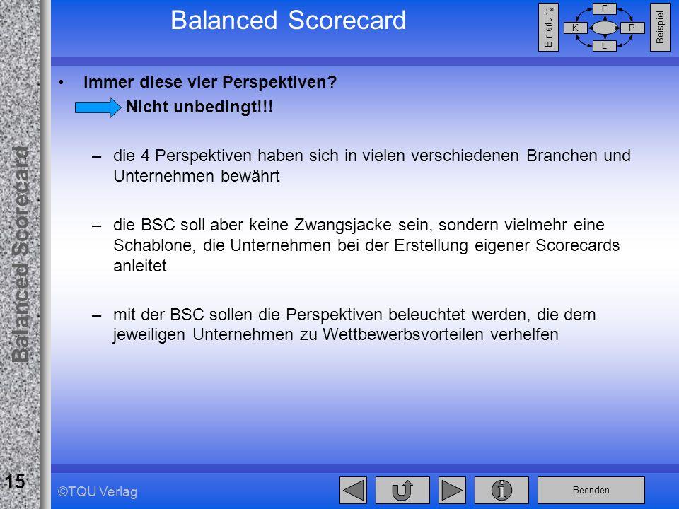 Beenden Balanced Scorecard F PK L Beispiel Einleitung 15 ©TQU Verlag Balanced Scorecard Immer diese vier Perspektiven? Nicht unbedingt!!! –die 4 Persp