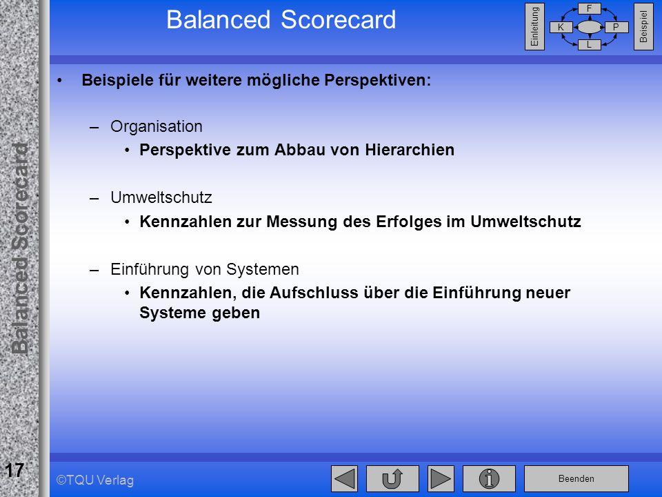 Beenden Balanced Scorecard F PK L Beispiel Einleitung 17 ©TQU Verlag Balanced Scorecard Beispiele für weitere mögliche Perspektiven: –Organisation Per