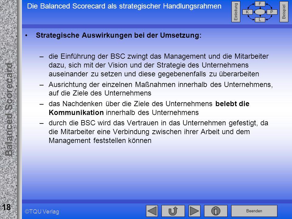 Beenden Balanced Scorecard F PK L Beispiel Einleitung 18 ©TQU Verlag Die Balanced Scorecard als strategischer Handlungsrahmen Strategische Auswirkunge