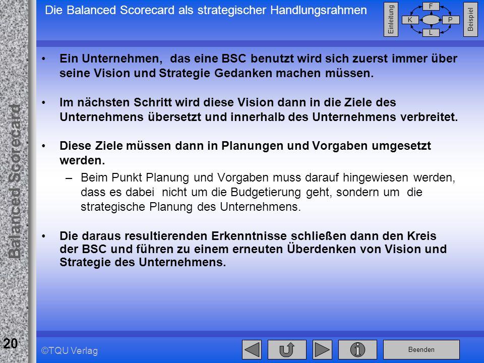 Beenden Balanced Scorecard F PK L Beispiel Einleitung 20 ©TQU Verlag Die Balanced Scorecard als strategischer Handlungsrahmen Ein Unternehmen, das ein