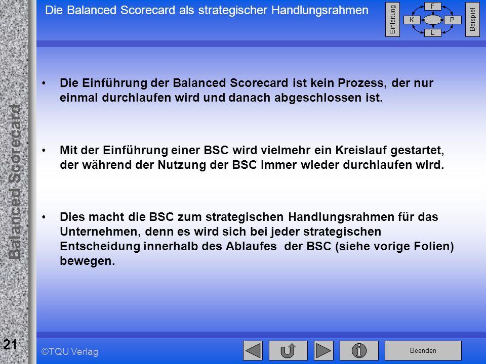 Beenden Balanced Scorecard F PK L Beispiel Einleitung 21 ©TQU Verlag Die Balanced Scorecard als strategischer Handlungsrahmen Die Einführung der Balan