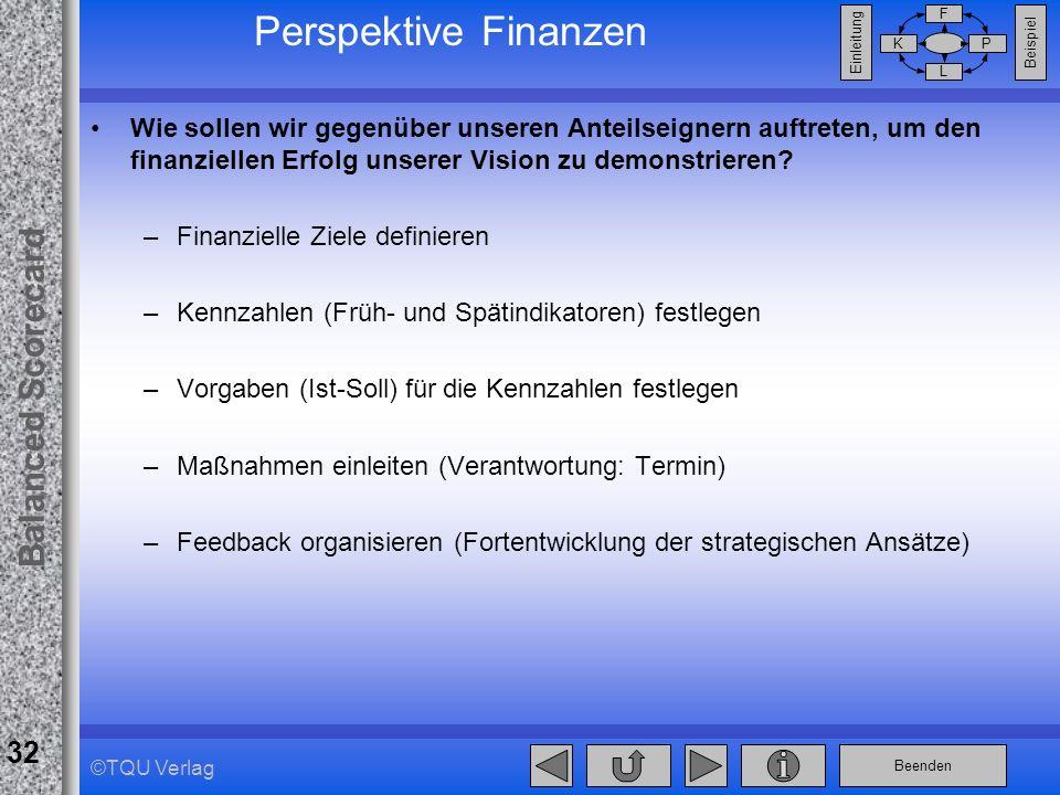 Beenden Balanced Scorecard F PK L Beispiel Einleitung 32 ©TQU Verlag Perspektive Finanzen Wie sollen wir gegenüber unseren Anteilseignern auftreten, u