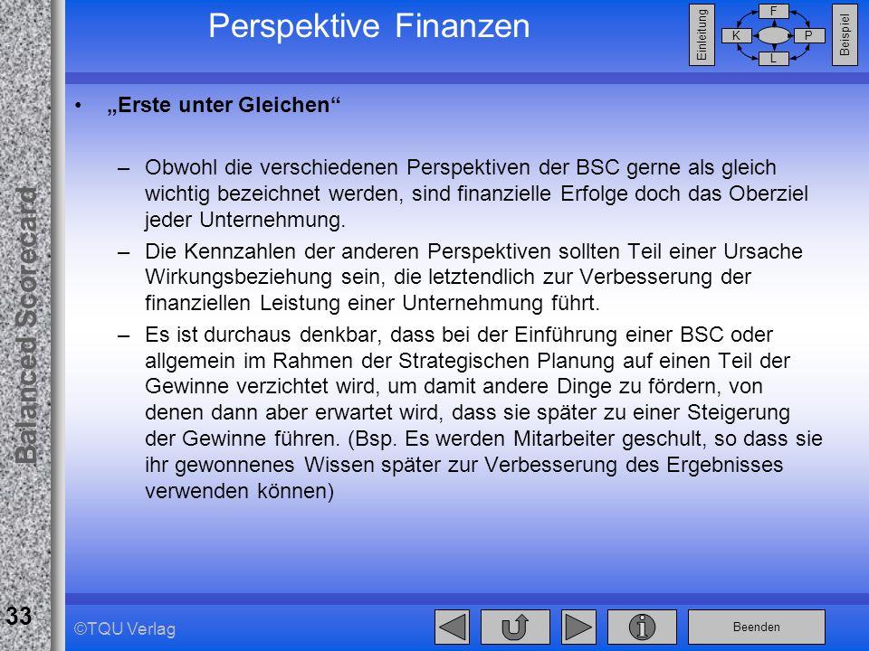 Beenden Balanced Scorecard F PK L Beispiel Einleitung 33 ©TQU Verlag Perspektive Finanzen Erste unter Gleichen –Obwohl die verschiedenen Perspektiven