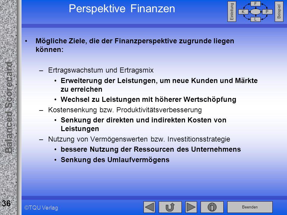 Beenden Balanced Scorecard F PK L Beispiel Einleitung 36 ©TQU Verlag Perspektive Finanzen Mögliche Ziele, die der Finanzperspektive zugrunde liegen kö