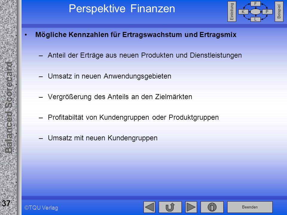 Beenden Balanced Scorecard F PK L Beispiel Einleitung 37 ©TQU Verlag Perspektive Finanzen Mögliche Kennzahlen für Ertragswachstum und Ertragsmix –Ante
