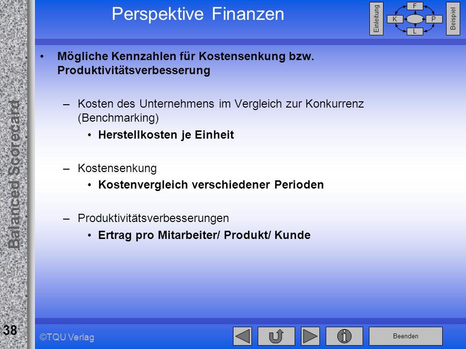 Beenden Balanced Scorecard F PK L Beispiel Einleitung 38 ©TQU Verlag Perspektive Finanzen Mögliche Kennzahlen für Kostensenkung bzw. Produktivitätsver