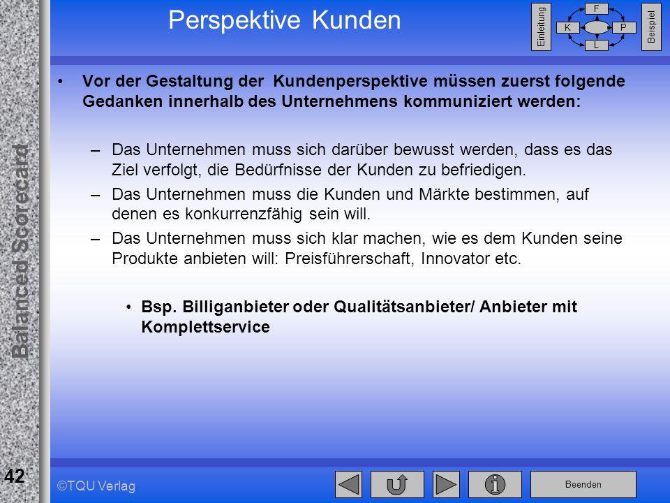 Beenden Balanced Scorecard F PK L Beispiel Einleitung 42 ©TQU Verlag Perspektive Kunden Vor der Gestaltung der Kundenperspektive müssen zuerst folgend