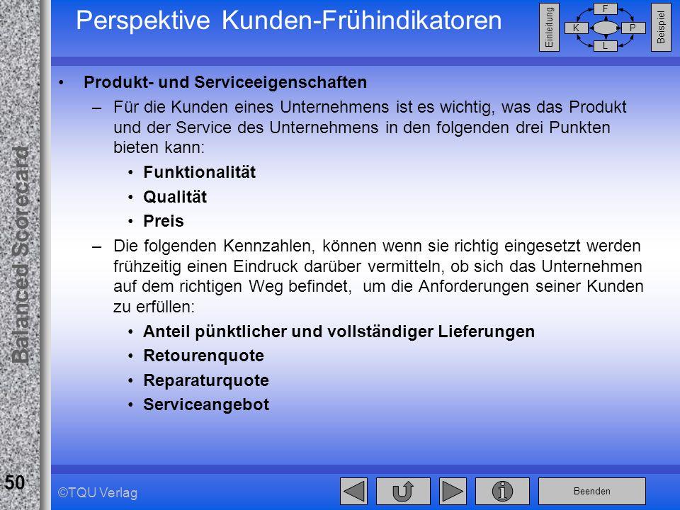 Beenden Balanced Scorecard F PK L Beispiel Einleitung 50 ©TQU Verlag Perspektive Kunden-Frühindikatoren Produkt- und Serviceeigenschaften –Für die Kun