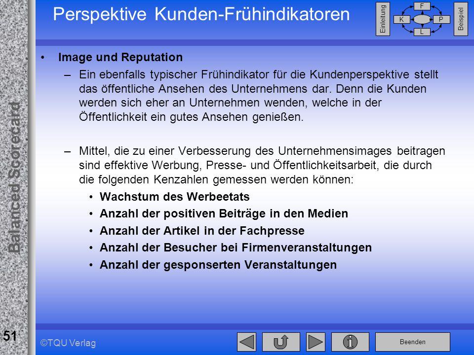 Beenden Balanced Scorecard F PK L Beispiel Einleitung 51 ©TQU Verlag Perspektive Kunden-Frühindikatoren Image und Reputation –Ein ebenfalls typischer