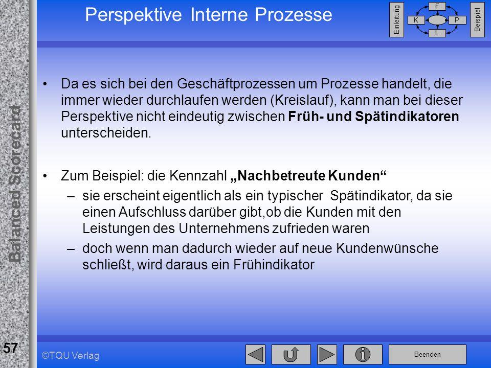 Beenden Balanced Scorecard F PK L Beispiel Einleitung 57 ©TQU Verlag Perspektive Interne Prozesse Da es sich bei den Geschäftprozessen um Prozesse han
