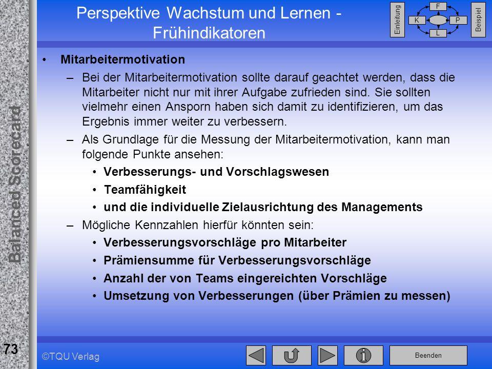 Beenden Balanced Scorecard F PK L Beispiel Einleitung 73 ©TQU Verlag Perspektive Wachstum und Lernen - Frühindikatoren Mitarbeitermotivation –Bei der