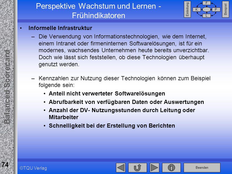 Beenden Balanced Scorecard F PK L Beispiel Einleitung 74 ©TQU Verlag Perspektive Wachstum und Lernen - Frühindikatoren Informelle Infrastruktur –Die V