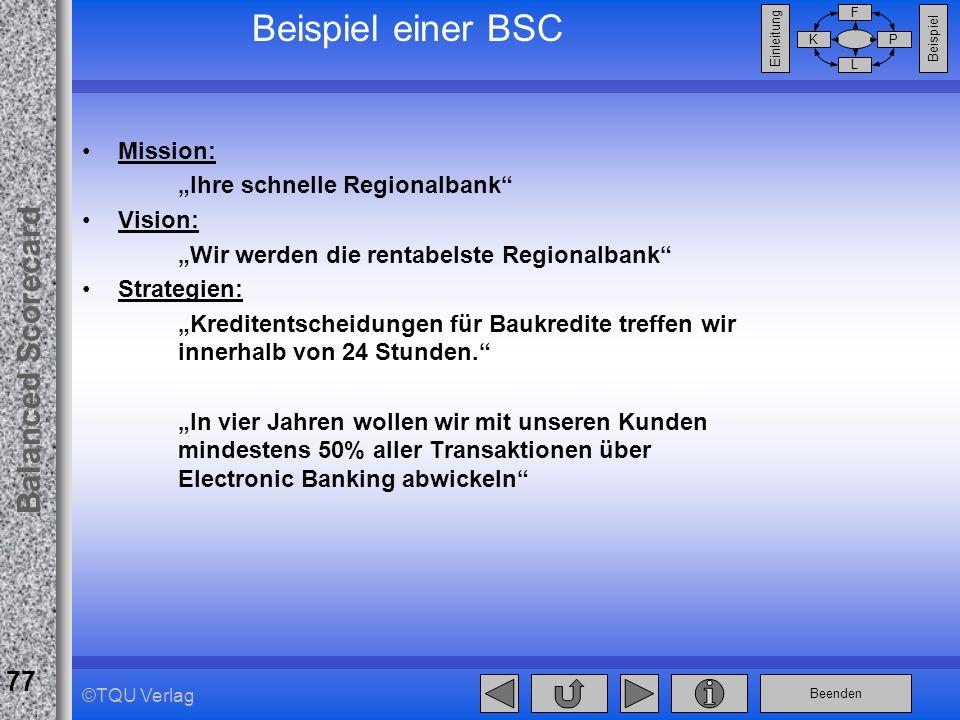 Beenden Balanced Scorecard F PK L Beispiel Einleitung 77 ©TQU Verlag Beispiel einer BSC Mission: Ihre schnelle Regionalbank Vision: Wir werden die ren