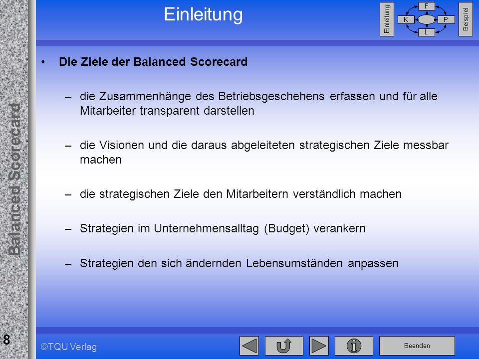 Beenden Balanced Scorecard F PK L Beispiel Einleitung 8 ©TQU Verlag Die Ziele der Balanced Scorecard –die Zusammenhänge des Betriebsgeschehens erfasse