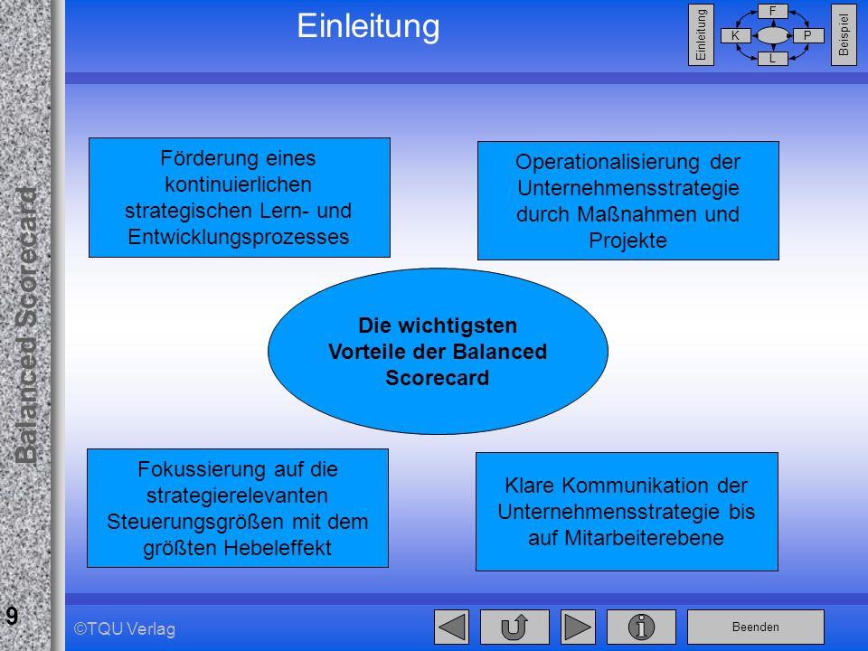 Beenden Balanced Scorecard F PK L Beispiel Einleitung 9 ©TQU Verlag Einleitung Fokussierung auf die strategierelevanten Steuerungsgrößen mit dem größt