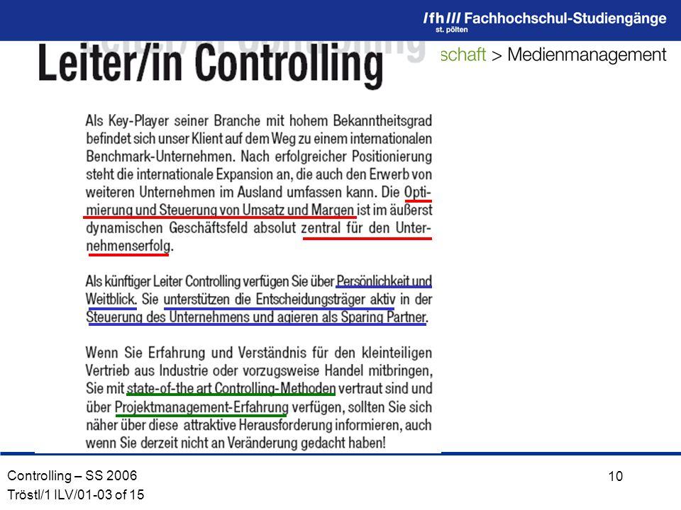 Controlling – SS 2006 Tröstl/1 ILV/01-03 of 15 10