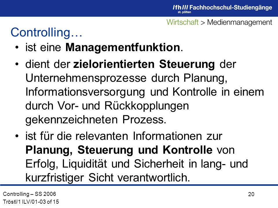 Controlling – SS 2006 Tröstl/1 ILV/01-03 of 15 20 ist eine Managementfunktion.