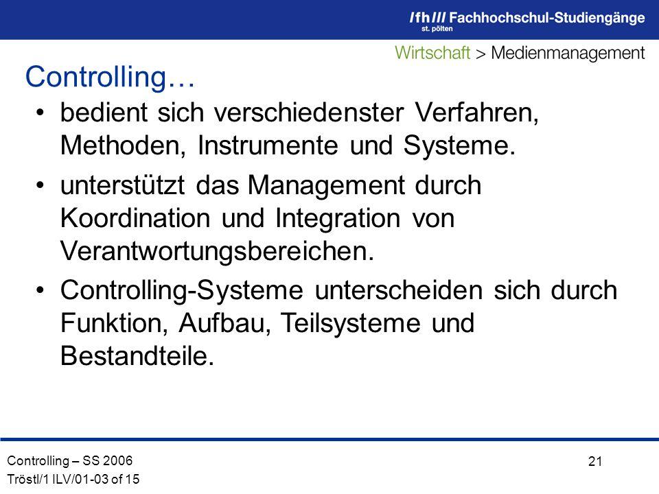 Controlling – SS 2006 Tröstl/1 ILV/01-03 of 15 21 bedient sich verschiedenster Verfahren, Methoden, Instrumente und Systeme.