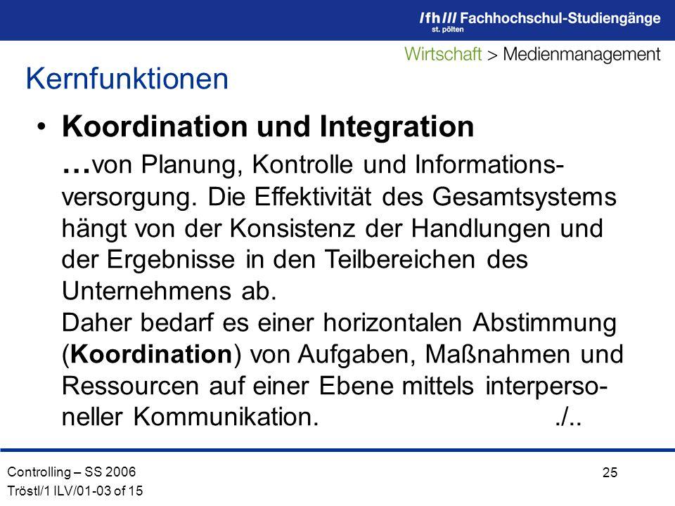 Controlling – SS 2006 Tröstl/1 ILV/01-03 of 15 25 Koordination und Integration … von Planung, Kontrolle und Informations- versorgung.
