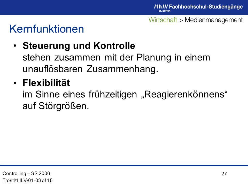 Controlling – SS 2006 Tröstl/1 ILV/01-03 of 15 27 Steuerung und Kontrolle stehen zusammen mit der Planung in einem unauflösbaren Zusammenhang.