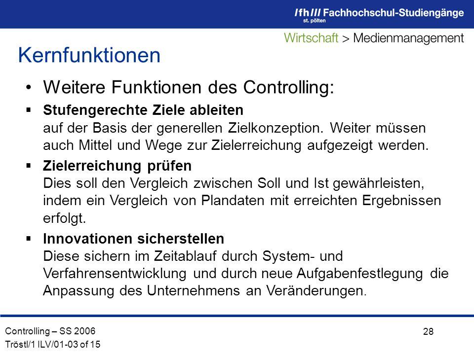 Controlling – SS 2006 Tröstl/1 ILV/01-03 of 15 28 Weitere Funktionen des Controlling: Stufengerechte Ziele ableiten auf der Basis der generellen Zielkonzeption.