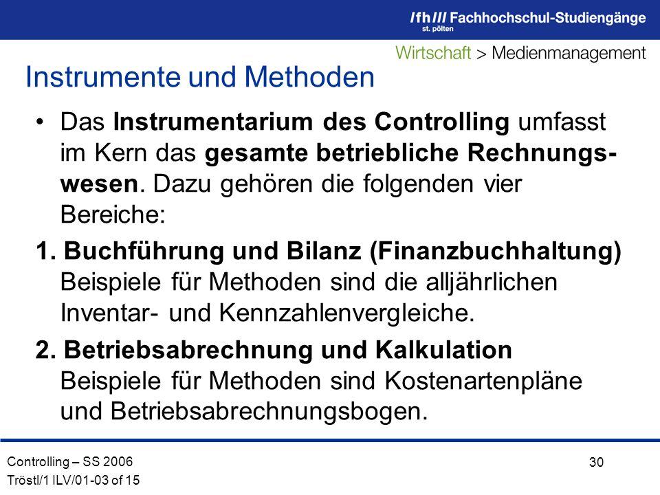 Controlling – SS 2006 Tröstl/1 ILV/01-03 of 15 30 Das Instrumentarium des Controlling umfasst im Kern das gesamte betriebliche Rechnungs- wesen.