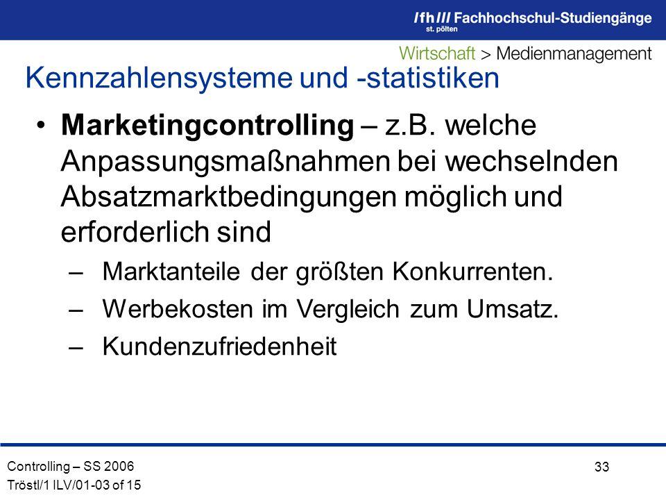 Controlling – SS 2006 Tröstl/1 ILV/01-03 of 15 33 Marketingcontrolling – z.B.