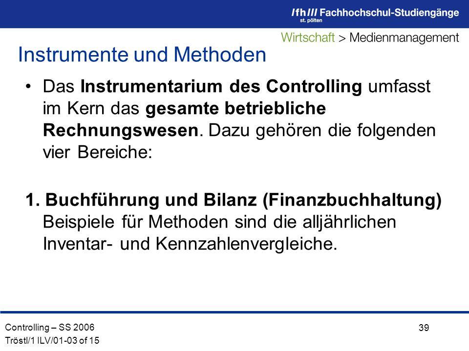 Controlling – SS 2006 Tröstl/1 ILV/01-03 of 15 39 Das Instrumentarium des Controlling umfasst im Kern das gesamte betriebliche Rechnungswesen.